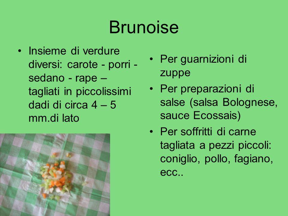 Brunoise Insieme di verdure diversi: carote - porri - sedano - rape – tagliati in piccolissimi dadi di circa 4 – 5 mm.di lato.