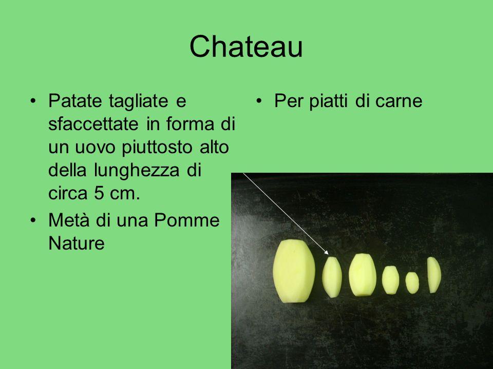 Chateau Patate tagliate e sfaccettate in forma di un uovo piuttosto alto della lunghezza di circa 5 cm.