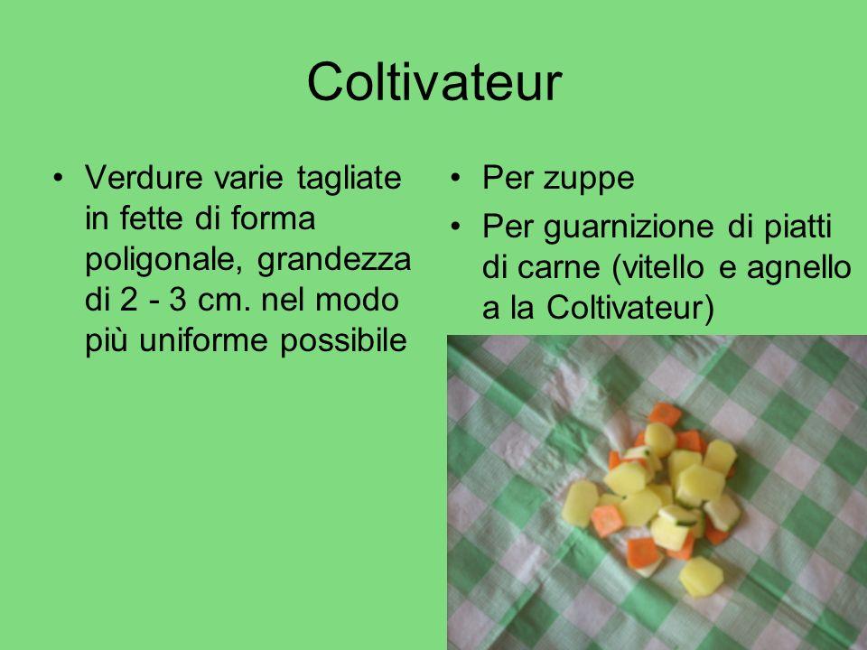 Coltivateur Verdure varie tagliate in fette di forma poligonale, grandezza di 2 - 3 cm. nel modo più uniforme possibile.