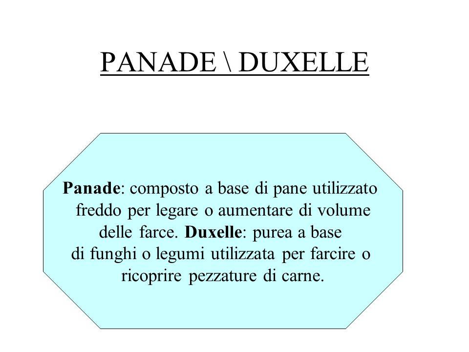 PANADE \ DUXELLE Panade: composto a base di pane utilizzato