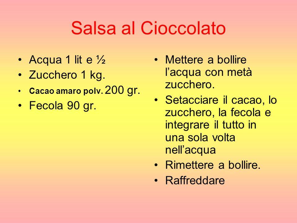 Salsa al Cioccolato Acqua 1 lit e ½ Zucchero 1 kg. Fecola 90 gr.