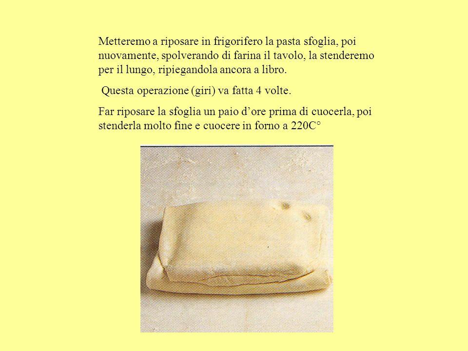 Metteremo a riposare in frigorifero la pasta sfoglia, poi nuovamente, spolverando di farina il tavolo, la stenderemo per il lungo, ripiegandola ancora a libro.