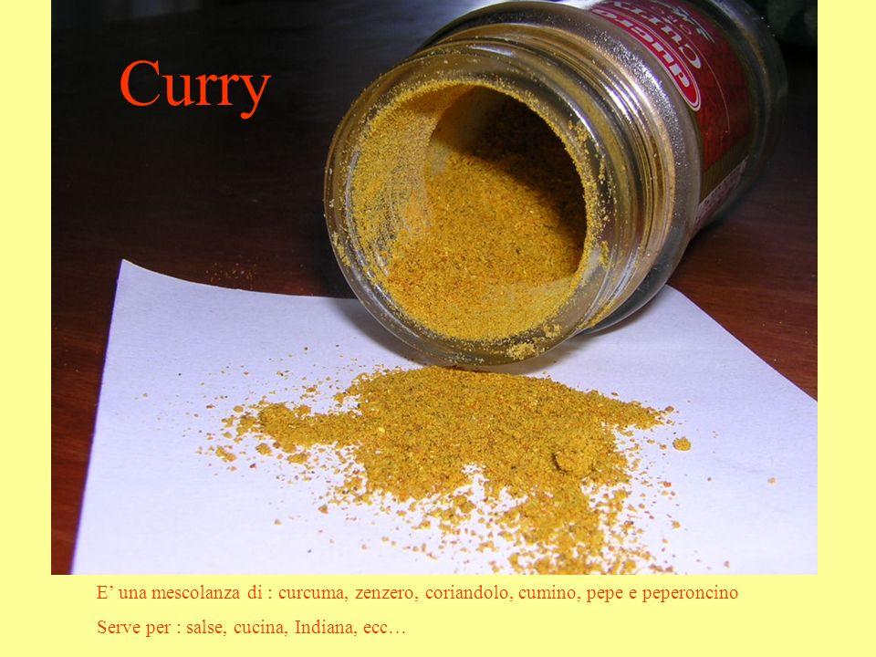 Curry E' una mescolanza di : curcuma, zenzero, coriandolo, cumino, pepe e peperoncino.