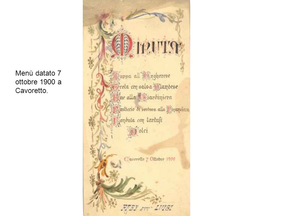 Menù datato 7 ottobre 1900 a Cavoretto.