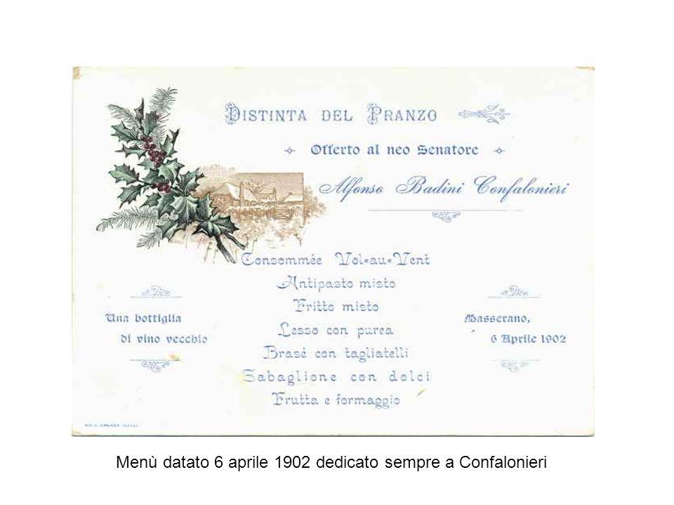 Menù datato 6 aprile 1902 dedicato sempre a Confalonieri