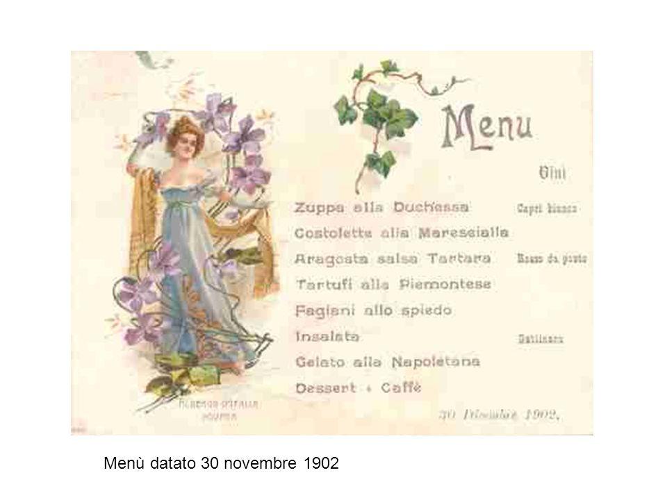 Menù datato 30 novembre 1902