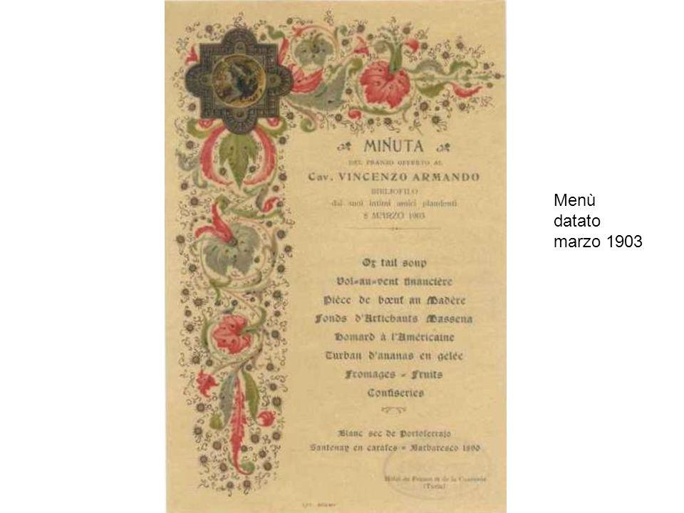 Menù datato marzo 1903