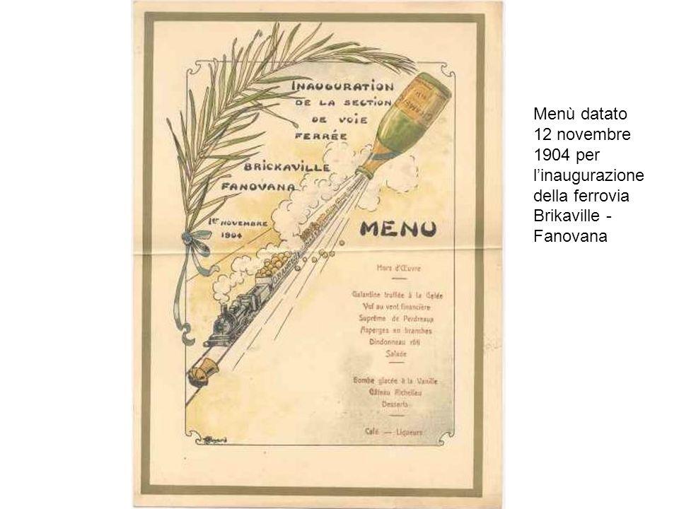 Menù datato 12 novembre 1904 per l'inaugurazione della ferrovia Brikaville - Fanovana