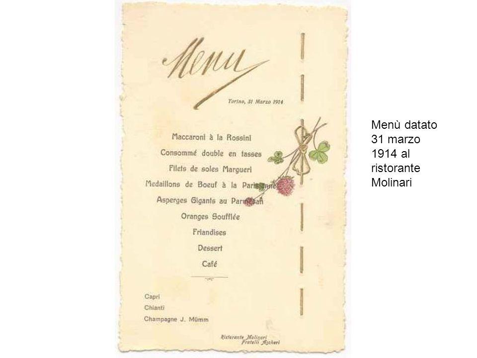 Menù datato 31 marzo 1914 al ristorante Molinari