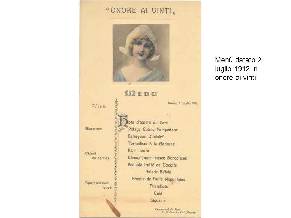 Menù datato 2 luglio 1912 in onore ai vinti