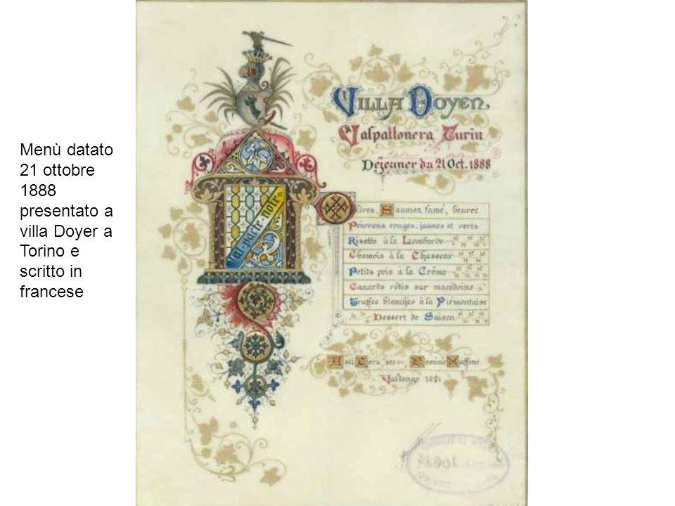 Menù datato 21 ottobre 1888 presentato a villa Doyer a Torino e scritto in francese