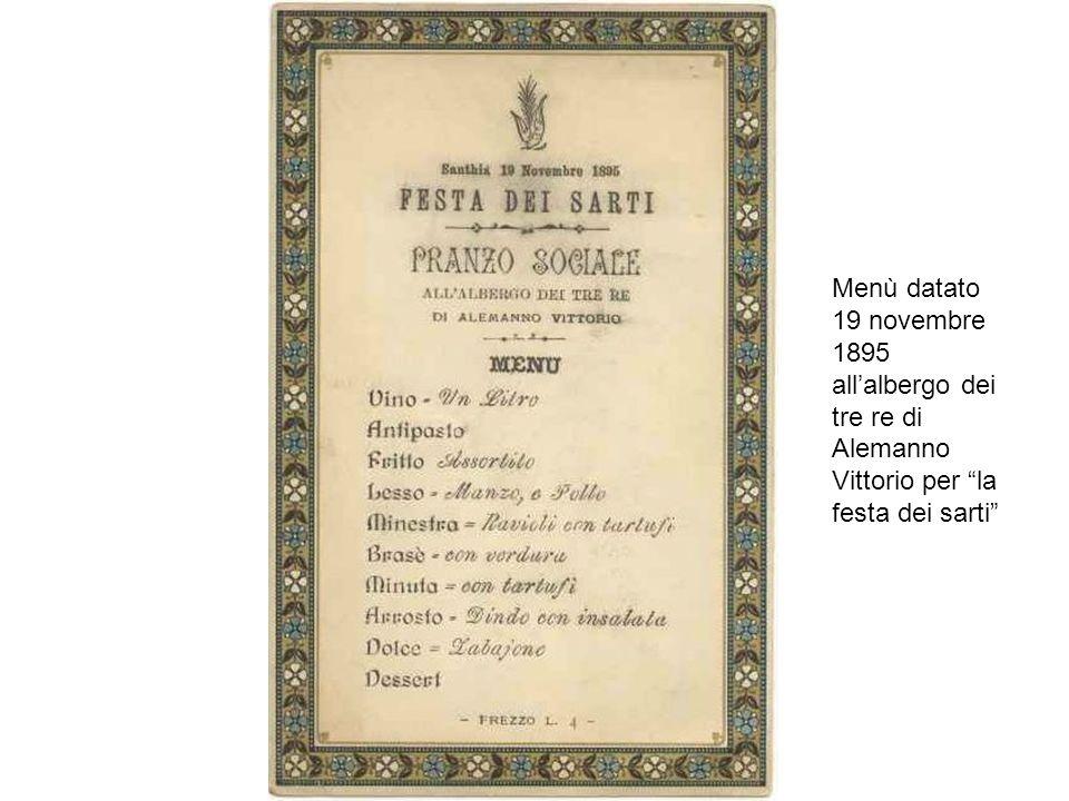 Menù datato 19 novembre 1895 all'albergo dei tre re di Alemanno Vittorio per la festa dei sarti