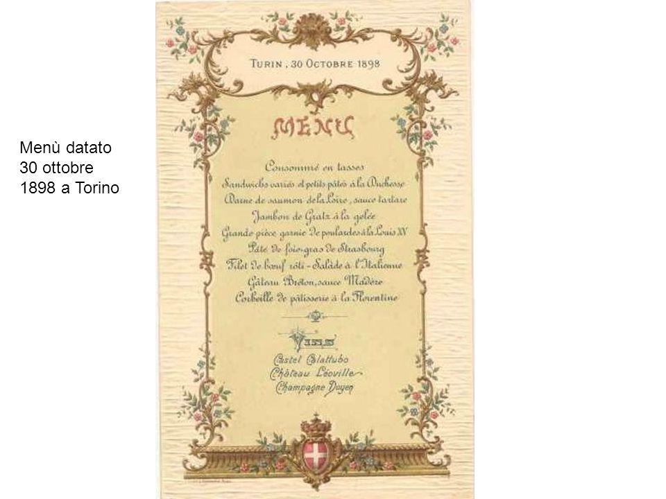 Menù datato 30 ottobre 1898 a Torino