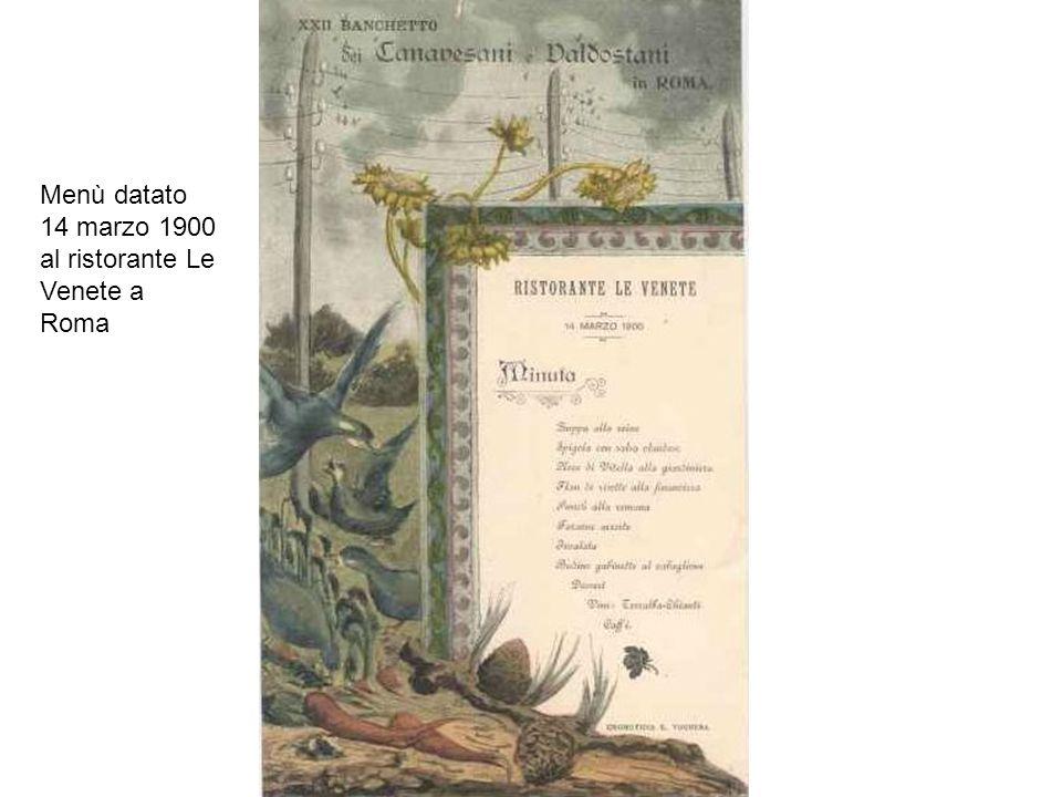 Menù datato 14 marzo 1900 al ristorante Le Venete a Roma