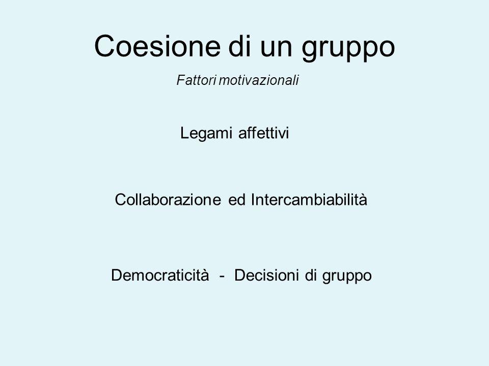 Coesione di un gruppo Legami affettivi