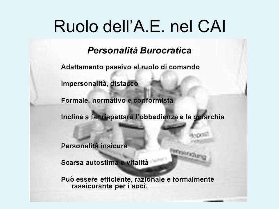 Ruolo dell'A.E. nel CAI Personalità Burocratica