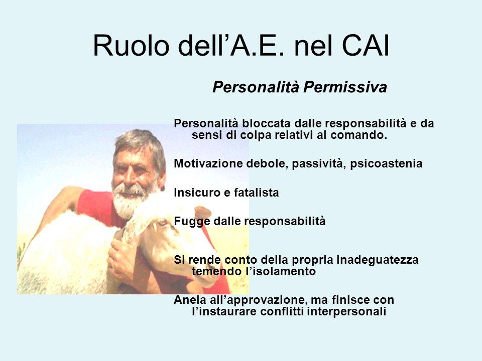 Ruolo dell'A.E. nel CAI Personalità Permissiva