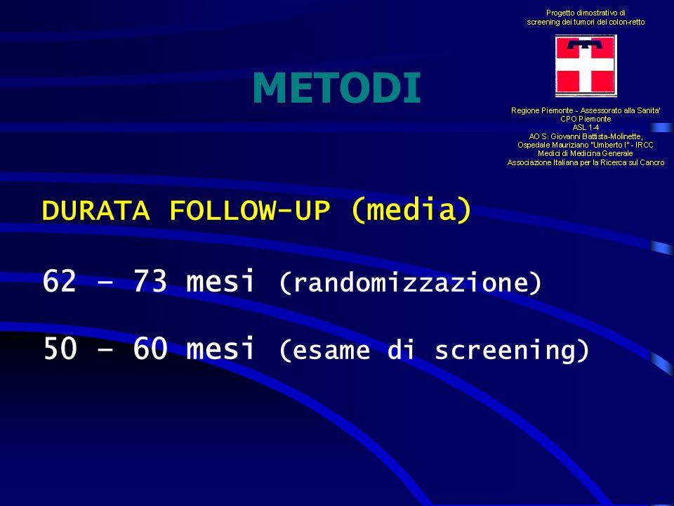 METODI DURATA FOLLOW-UP (media) 62 – 73 mesi (randomizzazione)
