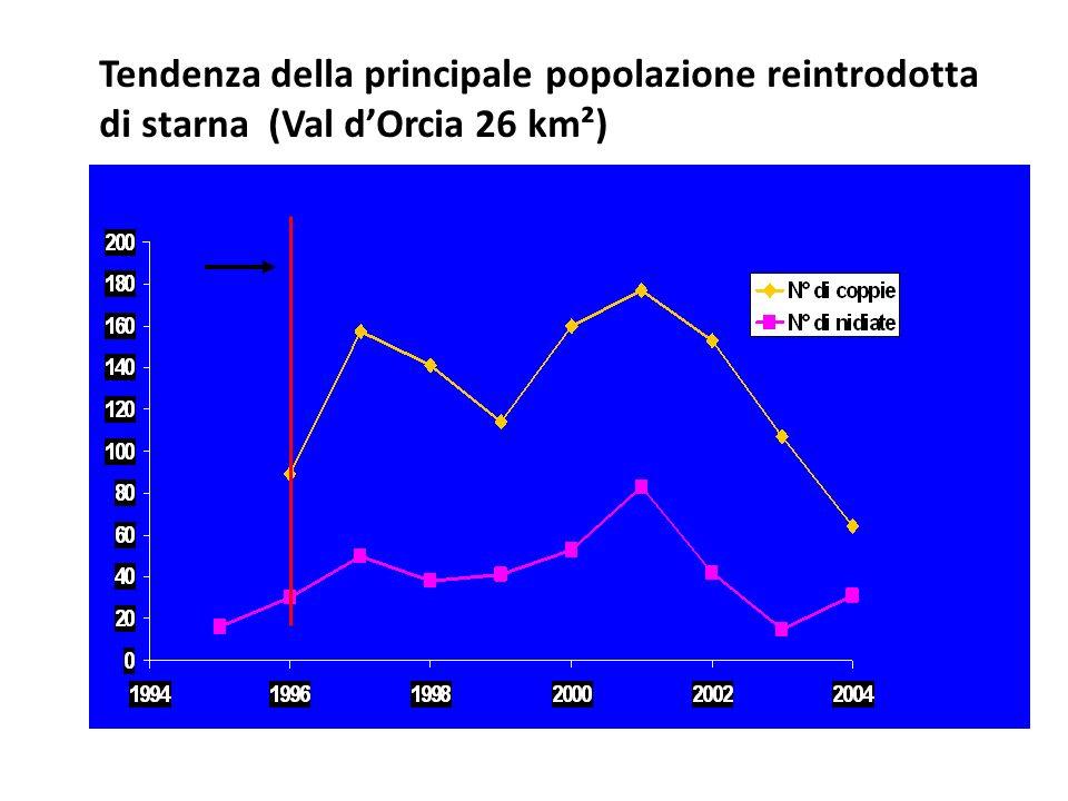 Tendenza della principale popolazione reintrodotta di starna (Val d'Orcia 26 km²)