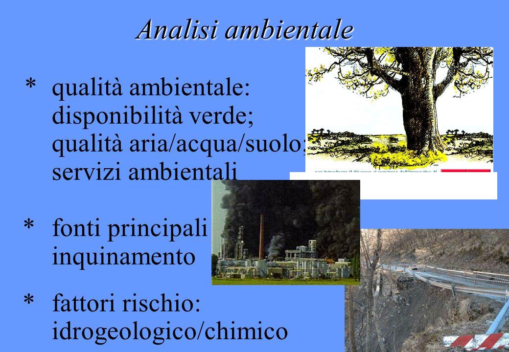 Analisi ambientale * qualità ambientale: disponibilità verde;