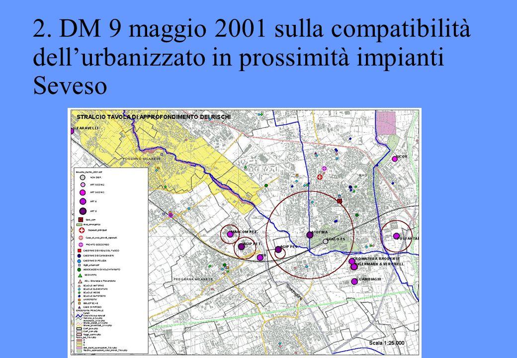 2. DM 9 maggio 2001 sulla compatibilità dell'urbanizzato in prossimità impianti Seveso