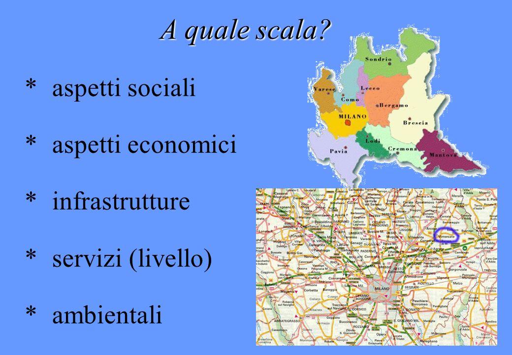 A quale scala * aspetti sociali * aspetti economici * infrastrutture