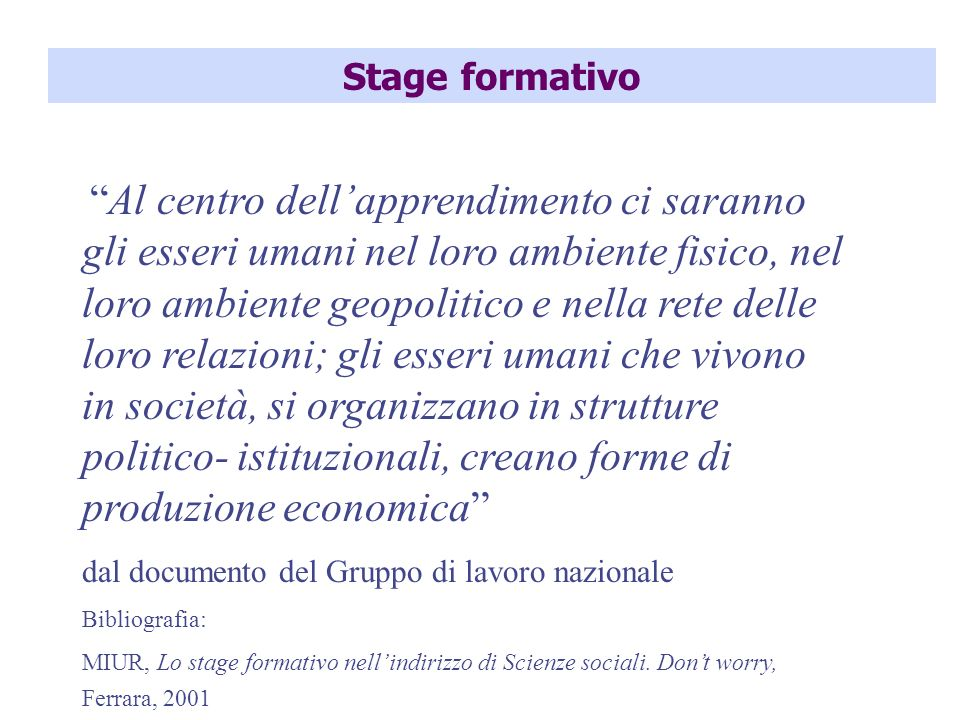 Stage formativo