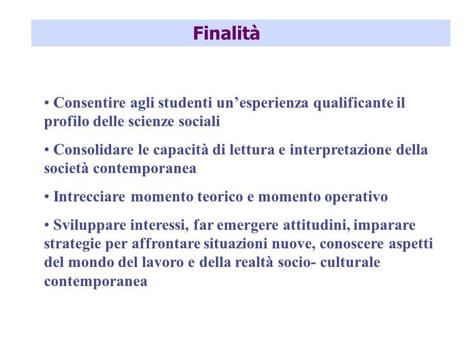 Finalità Consentire agli studenti un'esperienza qualificante il profilo delle scienze sociali.