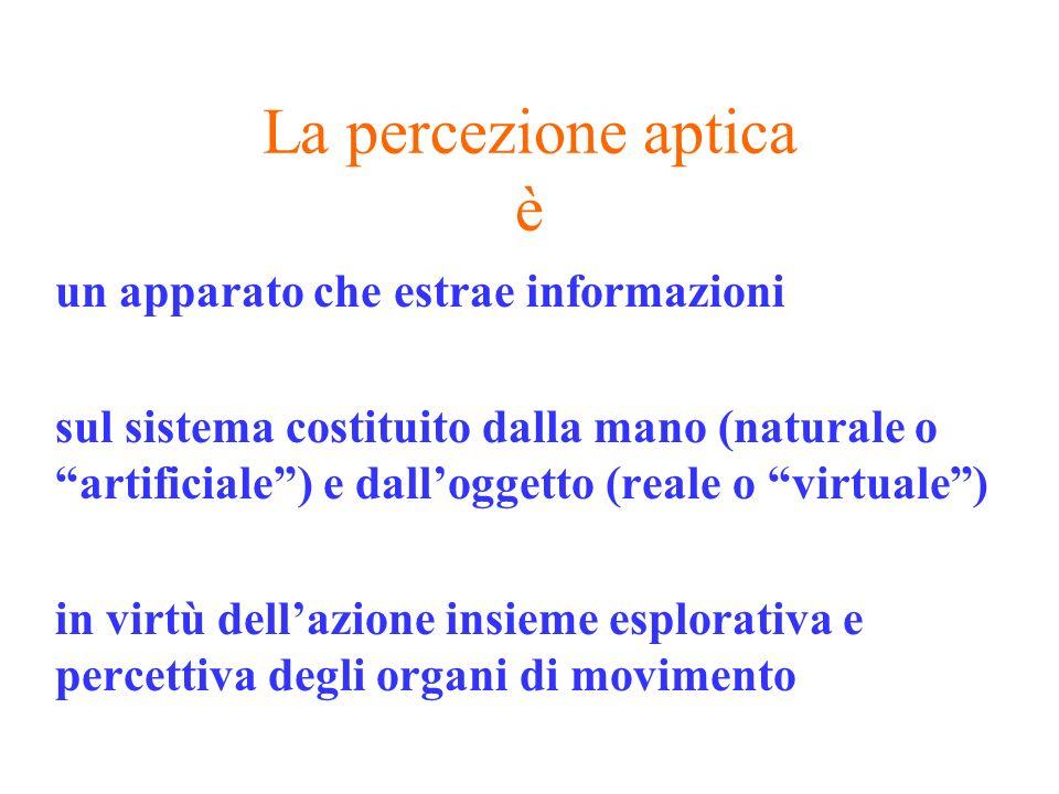 La percezione aptica è un apparato che estrae informazioni