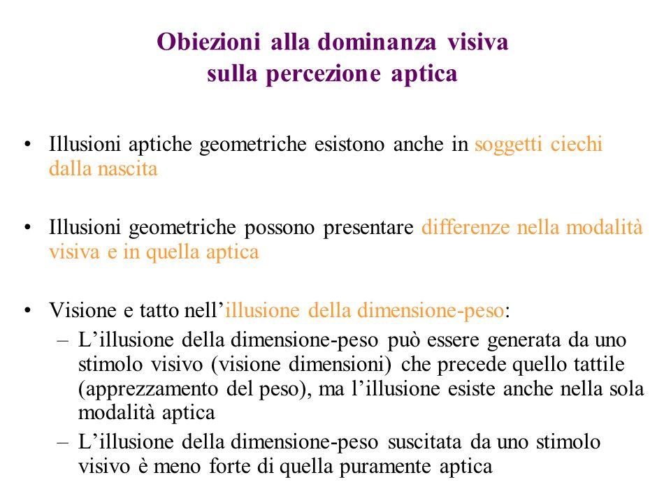 Obiezioni alla dominanza visiva sulla percezione aptica