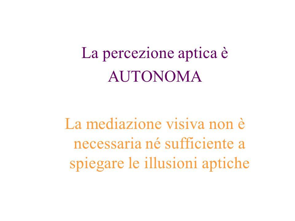 La percezione aptica è AUTONOMA.