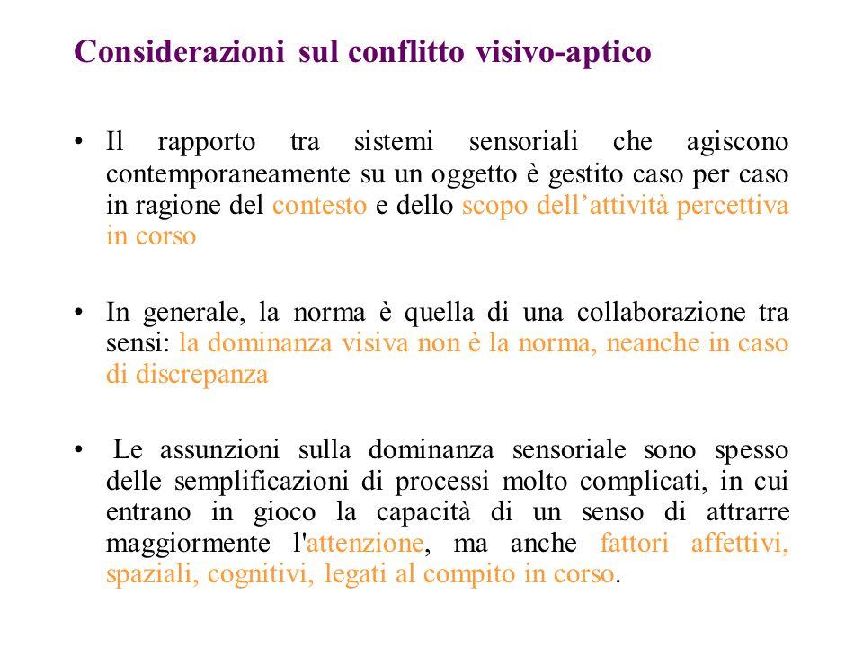Considerazioni sul conflitto visivo-aptico
