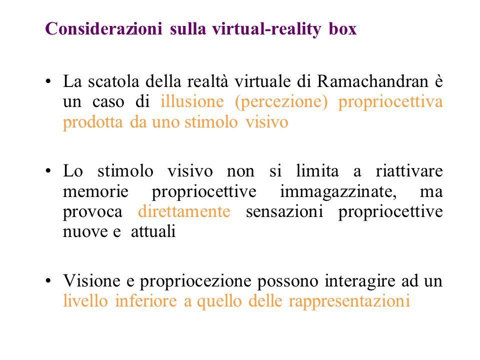 Considerazioni sulla virtual-reality box