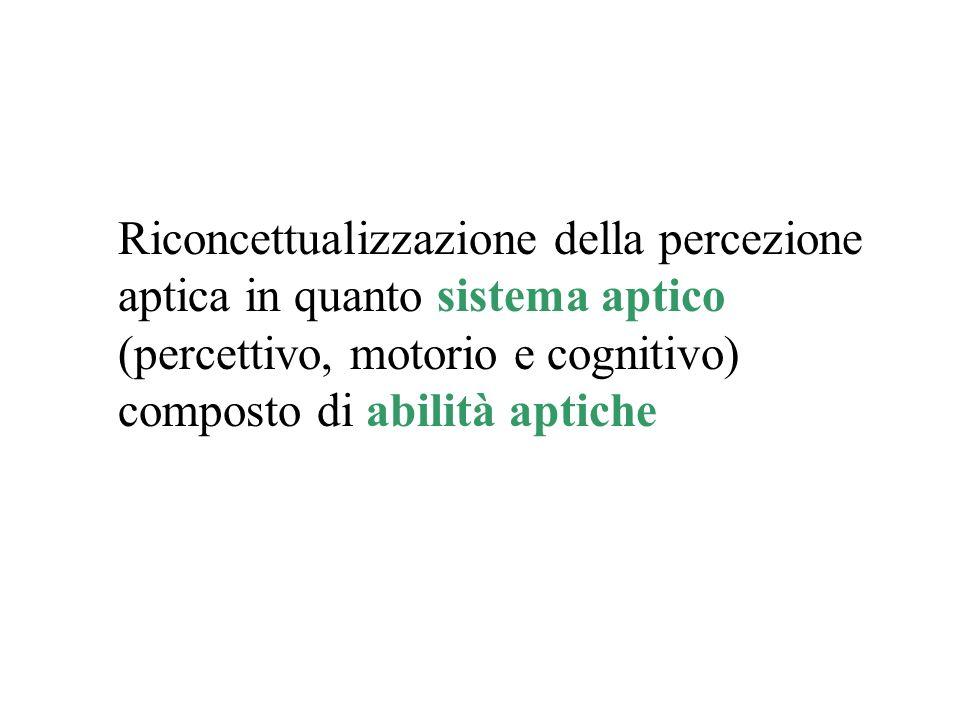 Riconcettualizzazione della percezione aptica in quanto sistema aptico (percettivo, motorio e cognitivo) composto di abilità aptiche