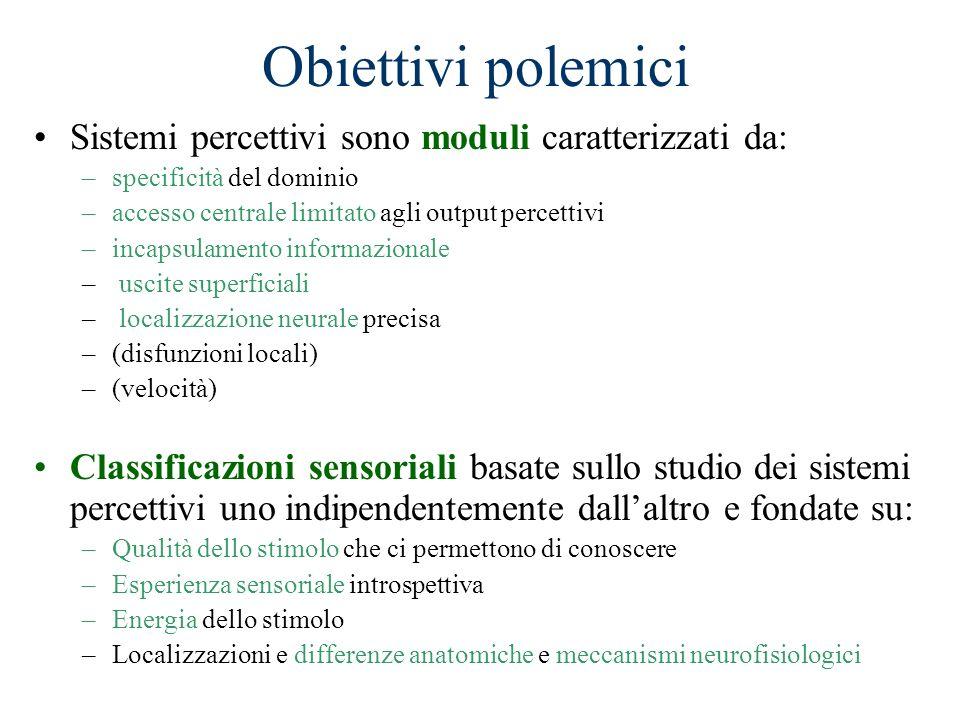 Obiettivi polemici Sistemi percettivi sono moduli caratterizzati da:
