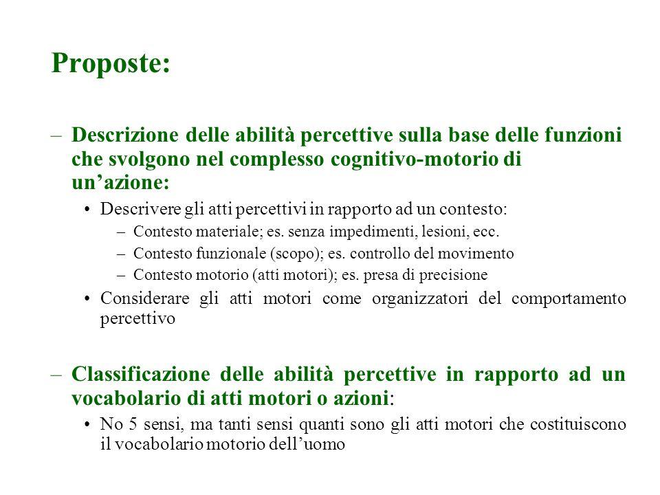 Proposte: Descrizione delle abilità percettive sulla base delle funzioni che svolgono nel complesso cognitivo-motorio di un'azione: