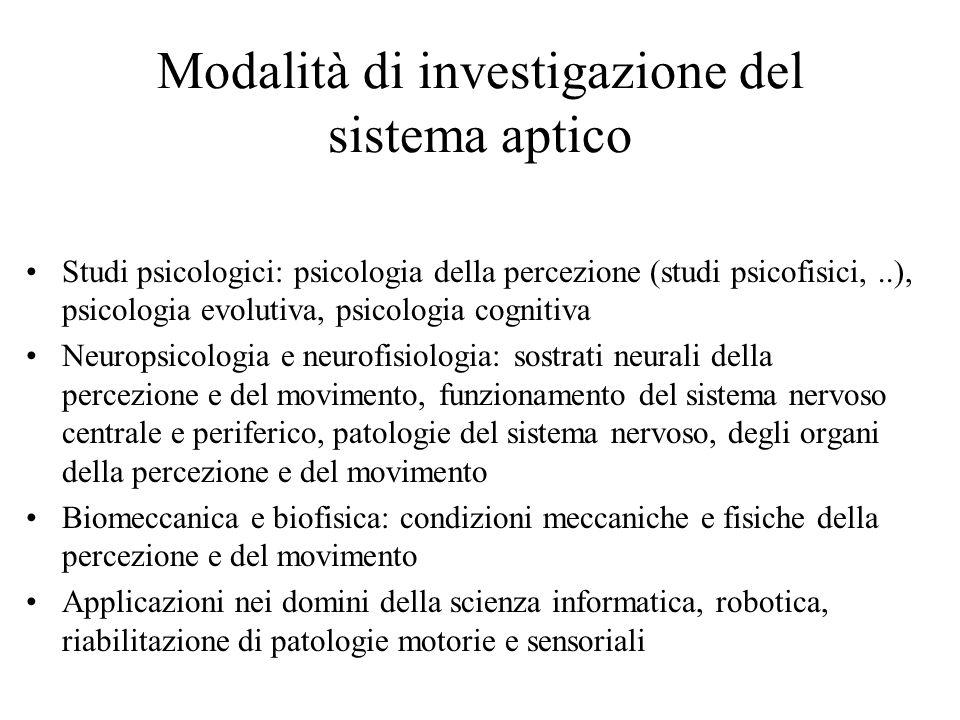 Modalità di investigazione del sistema aptico