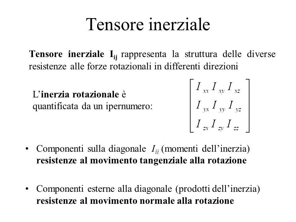 Tensore inerziale Tensore inerziale Iij rappresenta la struttura delle diverse resistenze alle forze rotazionali in differenti direzioni.