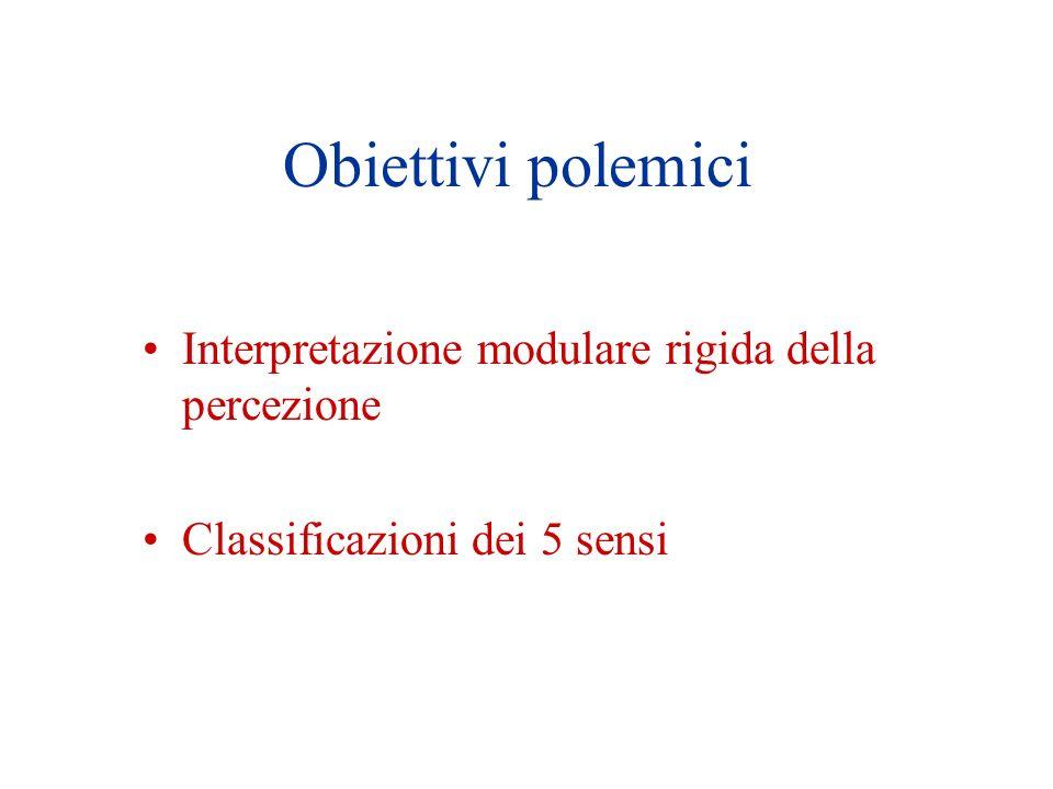 Obiettivi polemici Interpretazione modulare rigida della percezione
