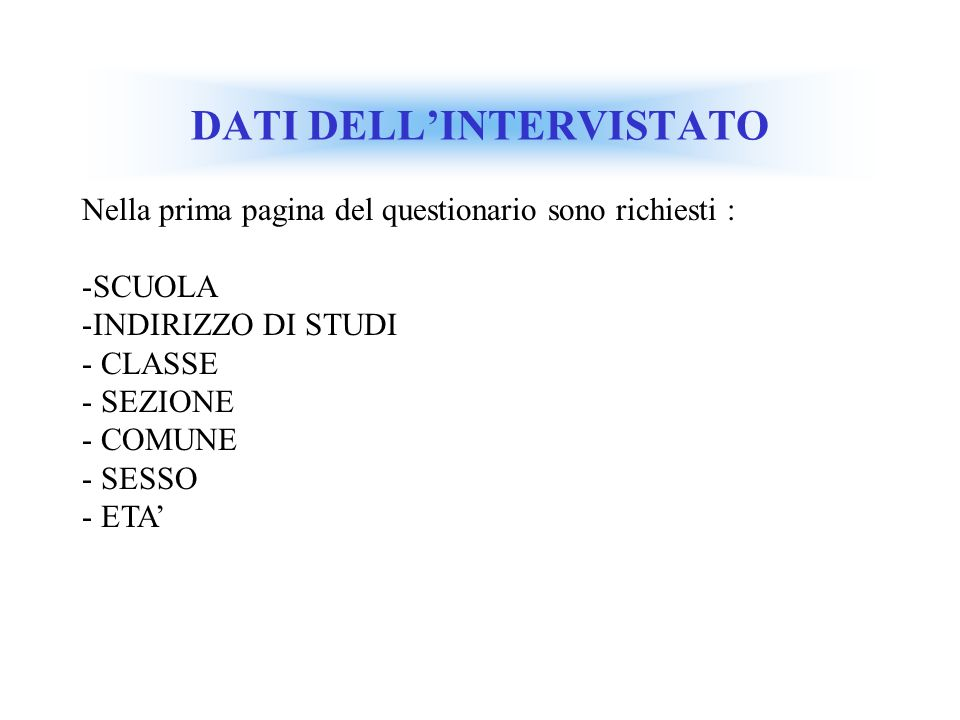 DATI DELL'INTERVISTATO