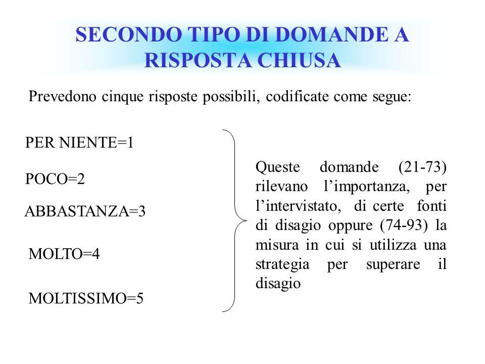 SECONDO TIPO DI DOMANDE A RISPOSTA CHIUSA
