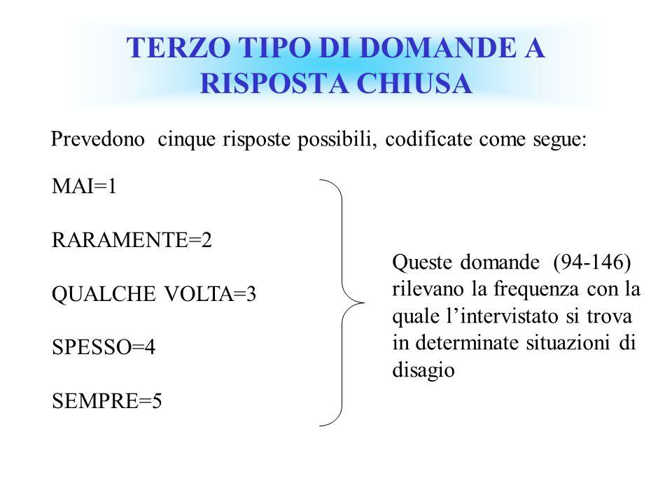 TERZO TIPO DI DOMANDE A RISPOSTA CHIUSA