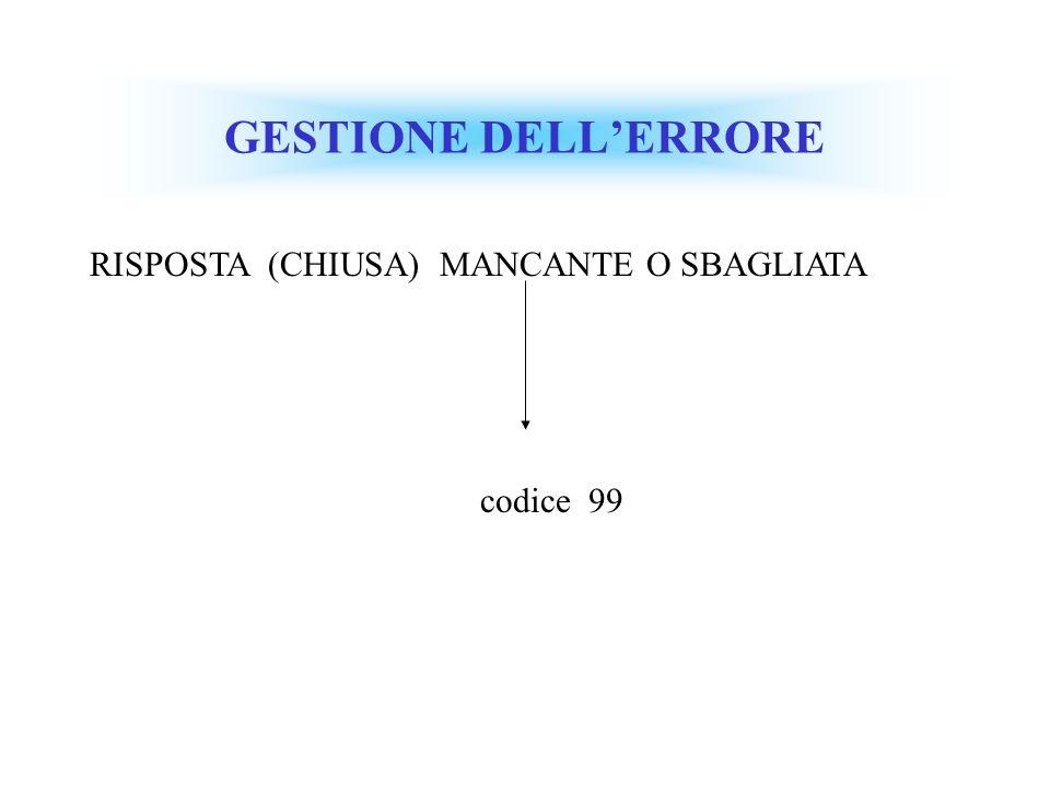 GESTIONE DELL'ERRORE RISPOSTA (CHIUSA) MANCANTE O SBAGLIATA codice 99