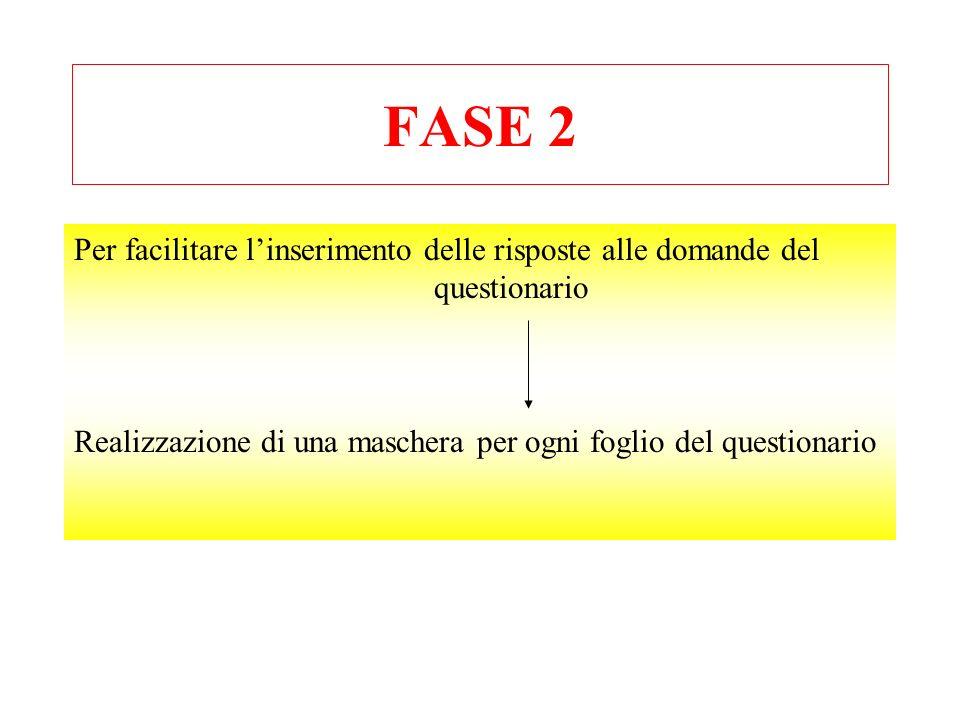 FASE 2 Per facilitare l'inserimento delle risposte alle domande del