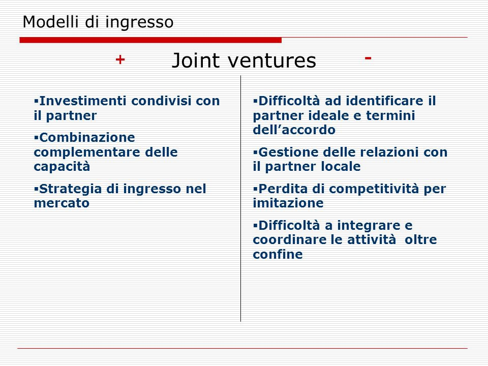 Joint ventures Modelli di ingresso - +