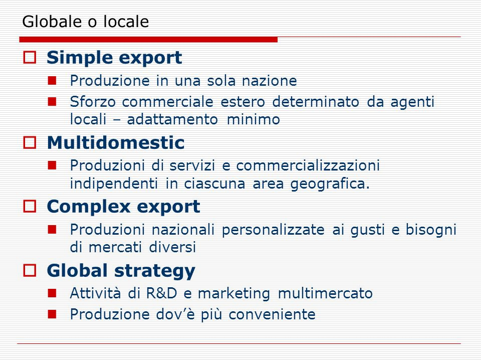 Simple export Multidomestic Complex export Global strategy