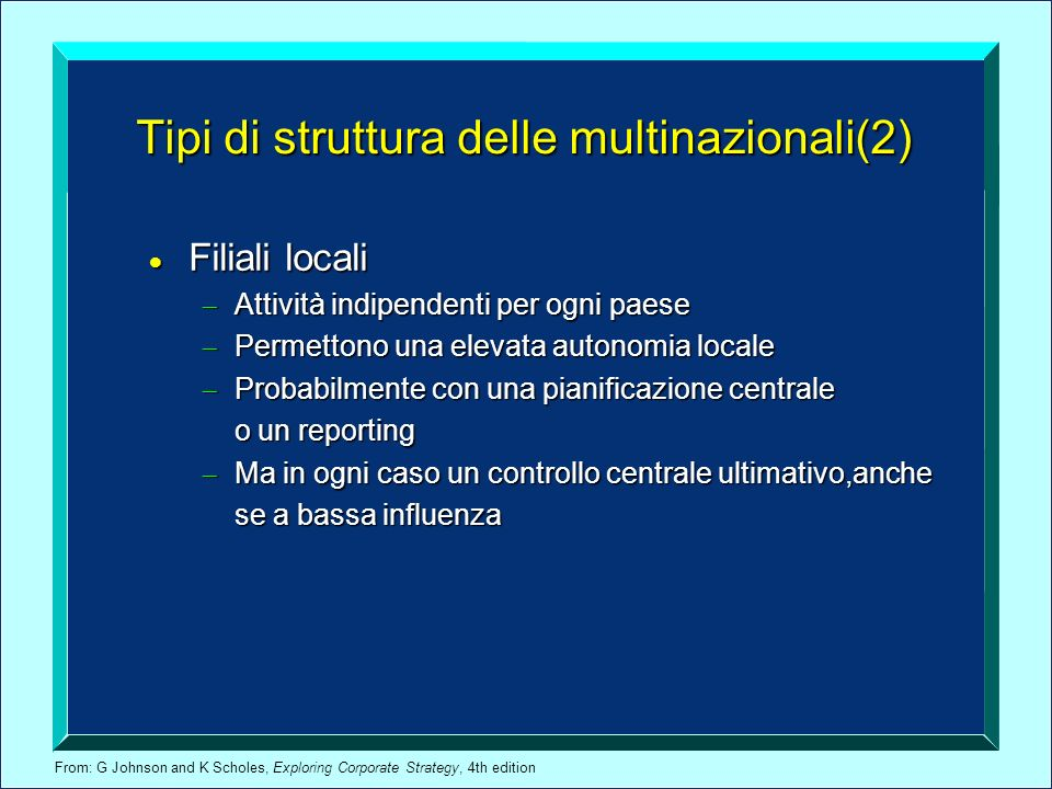 Tipi di struttura delle multinazionali(2)