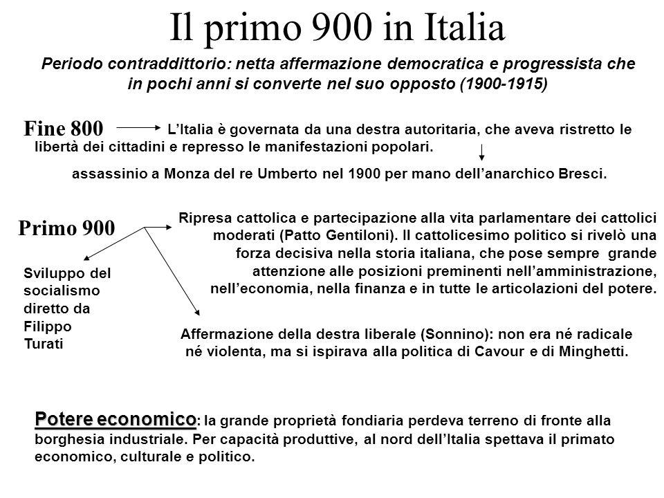 Il primo 900 in Italia Fine 800 Primo 900
