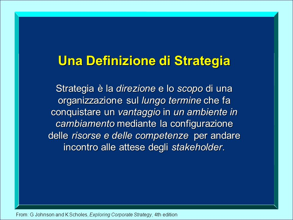 Una Definizione di Strategia