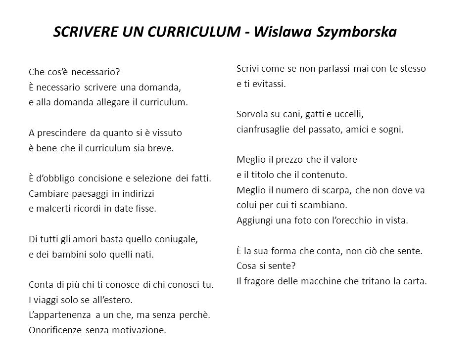 SCRIVERE UN CURRICULUM - Wislawa Szymborska